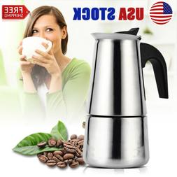2/6Cups Coffee Moka Pot Top Expresso Latte StainlessSteel St