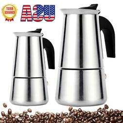 2Size Stainless Steel Stovetop Espresso Coffee Maker Percola