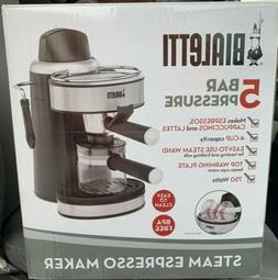 Bialetti 4-Cup Steam Espresso Maker Stainless & Black Model