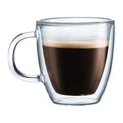 Bodum Bistro Coffee Mugs, Double-Wall Insulated Glass, Clear
