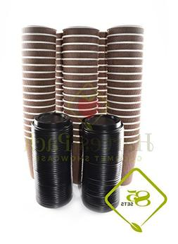 16 oz Disposable Double Walled Hot Cups with Lids - No Slee
