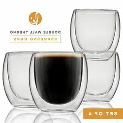 Espresso Cups Shot Glass Coffee Set of 4 - Double Wall Therm