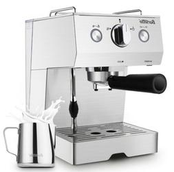 Barsetto Espresso Machine w/ Milk Frother Steamer,15 Bar Pum