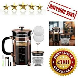 Veken French Press Coffee Maker , 304 Stainless Steel Coffee