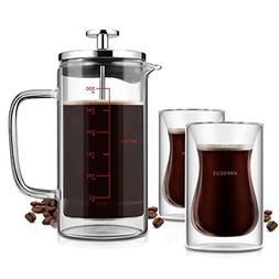 French Press Coffee Tea Maker with 2 Espresso Cups|Double Wa
