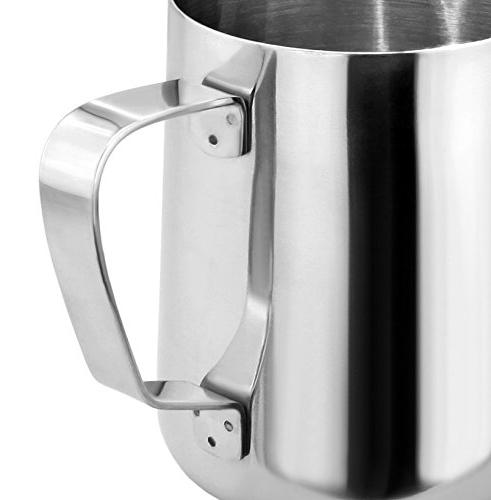 New Star Foodservice Commercial Grade Stainless 18/8 oz Pitcher and Die Aluminum Tamper Set, Silver