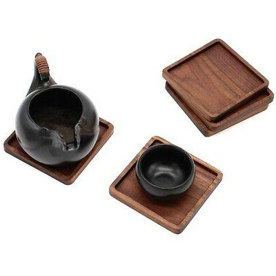 2X(Black Walnut Cup Coffee Table Resistant Square C2J9