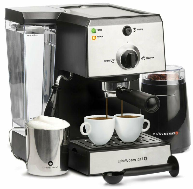 7 Pc All-In-One Espresso Machine  Cappuccino Maker Barista B