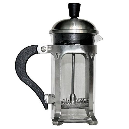 CHEFHUB Maker-10oz and Tea with Triple Filters, Steel and Heat Glass, Tea Press Coffee Scoop