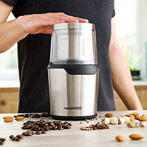 Sensio Coffee Grinder   Electric Herb & Spice Grinder Machine   Detachable 2.8 Ounce for and