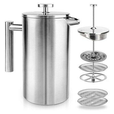 Coffee Pot French Stainless Steel Machine High Doubl