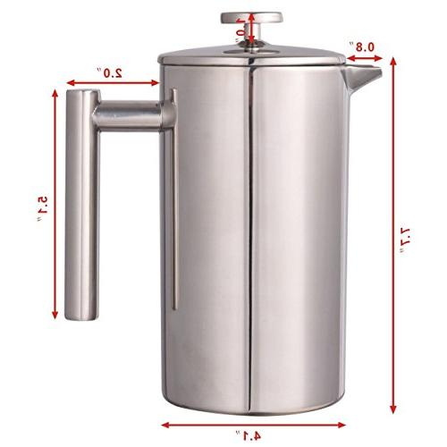 34 Wall Stainless Steel Coffee Plunger 8-Cup Coffee Maker
