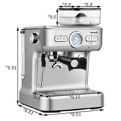 Espresso Coffee Cup With Built-in Steamer Frother Grinder New