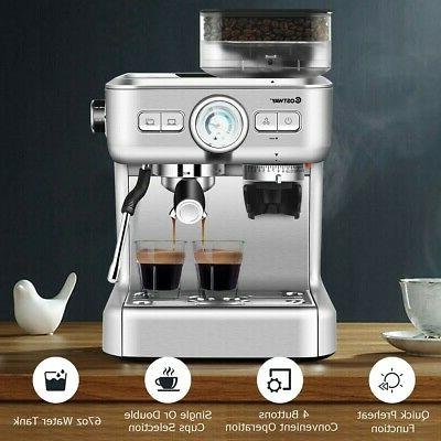 Espresso Coffee Cup Built-in Frother And Bean Grinder New