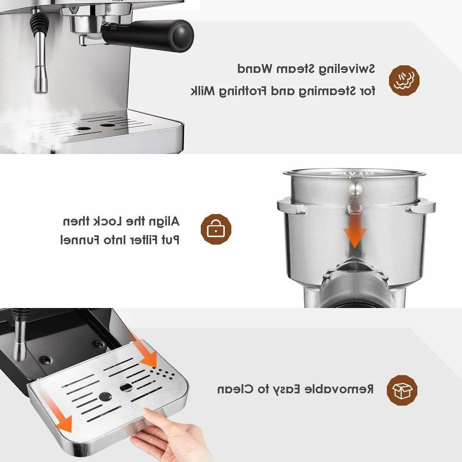 Espresso Machine Cappuccino Maker with Milk Frother Bar @@