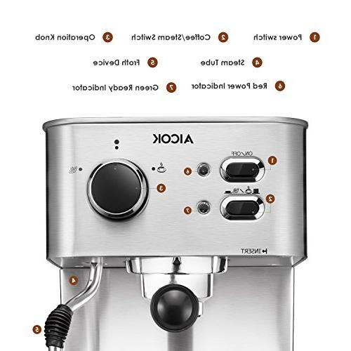 AICOK Espresso Machine, Maker, Moka Espresso with Milk 15 Bar 1050W, Steel