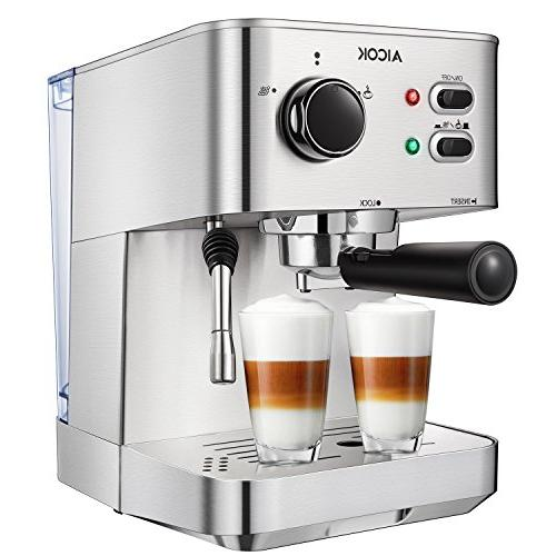 AICOK Espresso Maker, Coffee with Milk Frother, 15 Bar Steel