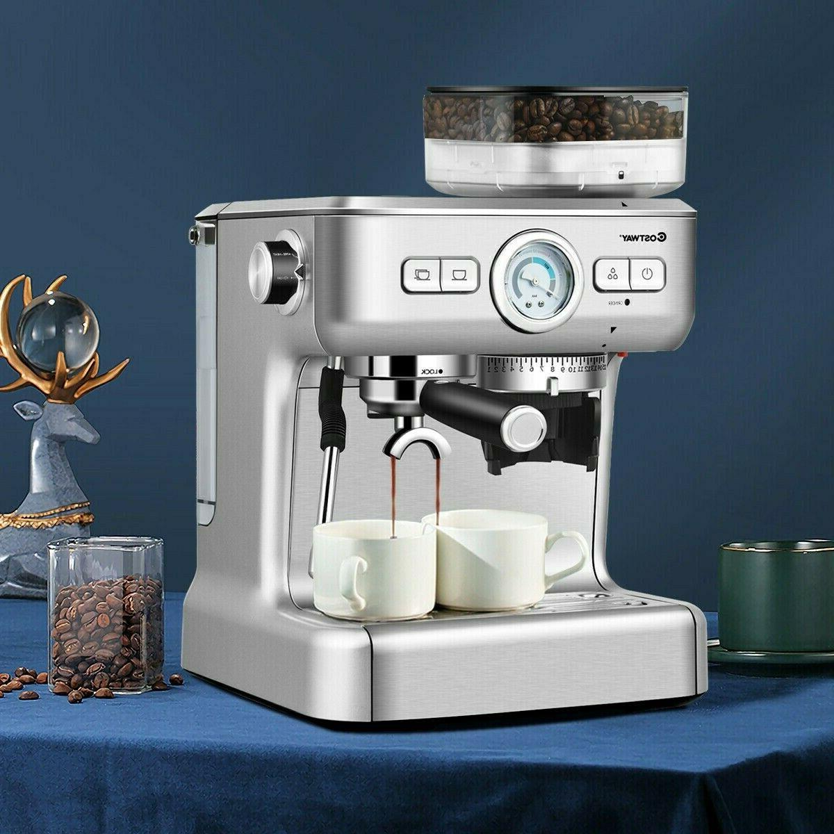 Espresso 20 Coffee Machine With Milk Frother Wand Cups New