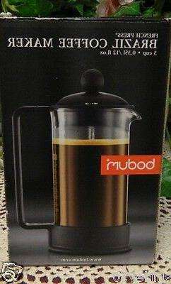 NIB BODUM 3 CUP FRENCH PRESS BRAZIL COFFEE MAKER STAINLESS S