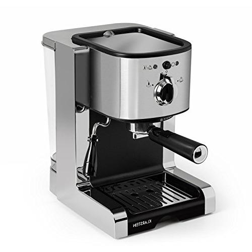 Klarstein Passionata • Espresso Machine • 1350 Watts 6 Cups Automatic Release Nozzle for Frothing • Stainless Steel Silver