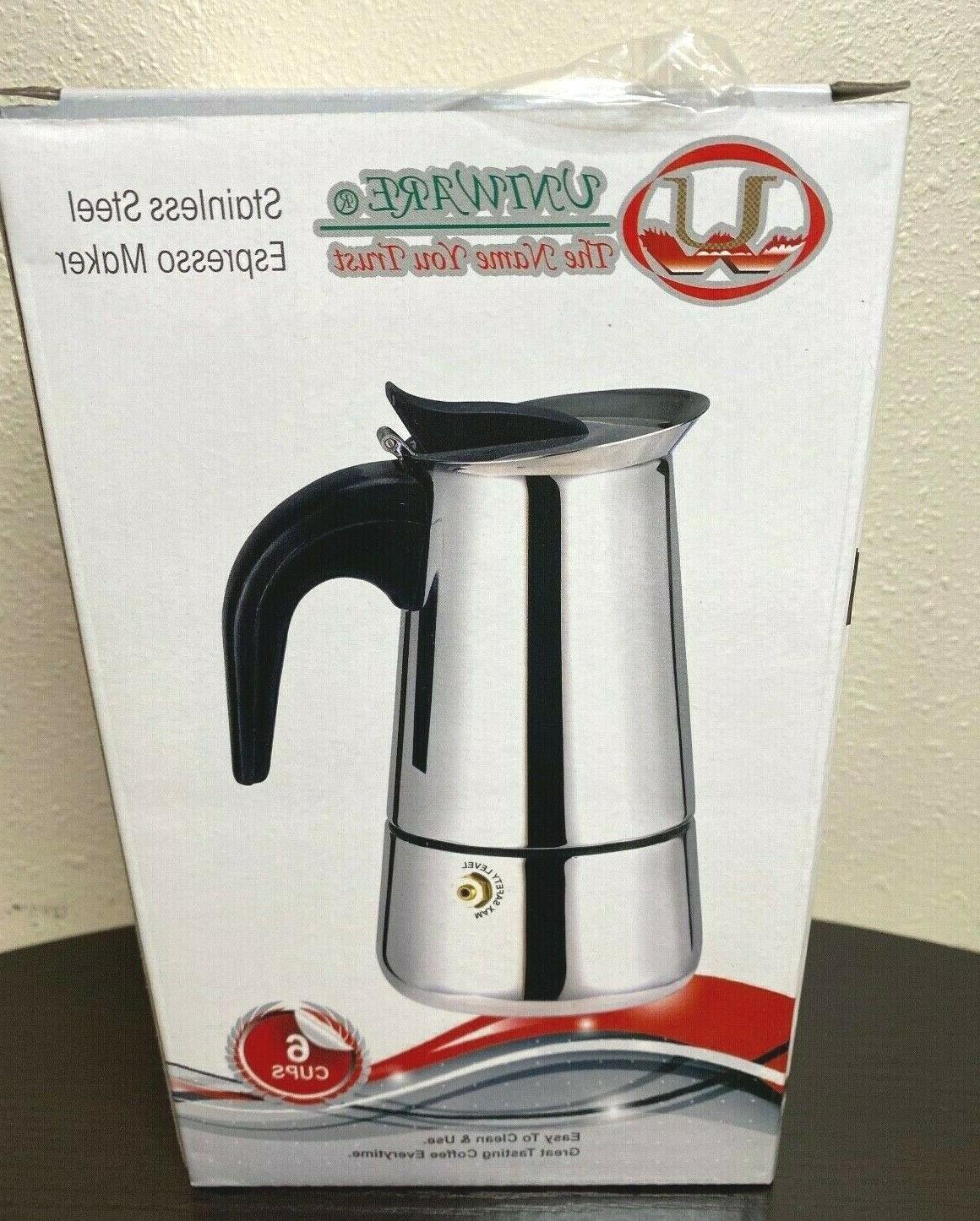 stainless steel espresso maker 6 cup