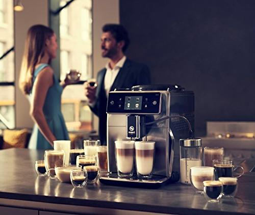 Saeco espresso machine with an grinder, double boiler, brewing latte & flat white. Xelsis