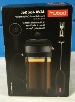 NIB BODUM 8 CUP FRENCH PRESS 4 PC. JAVA SET SCHIUMA MILK FRO