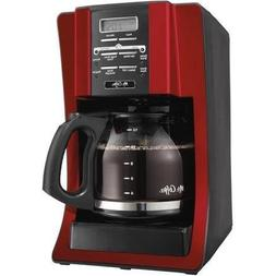 12-Cup Programmable Settings Programmable Coffee Maker, Red