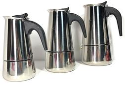 Stainless Steel Espresso Maker,4 cup,6 cup, or 9 cup Uniware